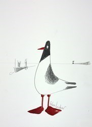 Harbour Bird Sketch II by Rebecca Lardner -  sized 10x10 inches. Available from Whitewall Galleries